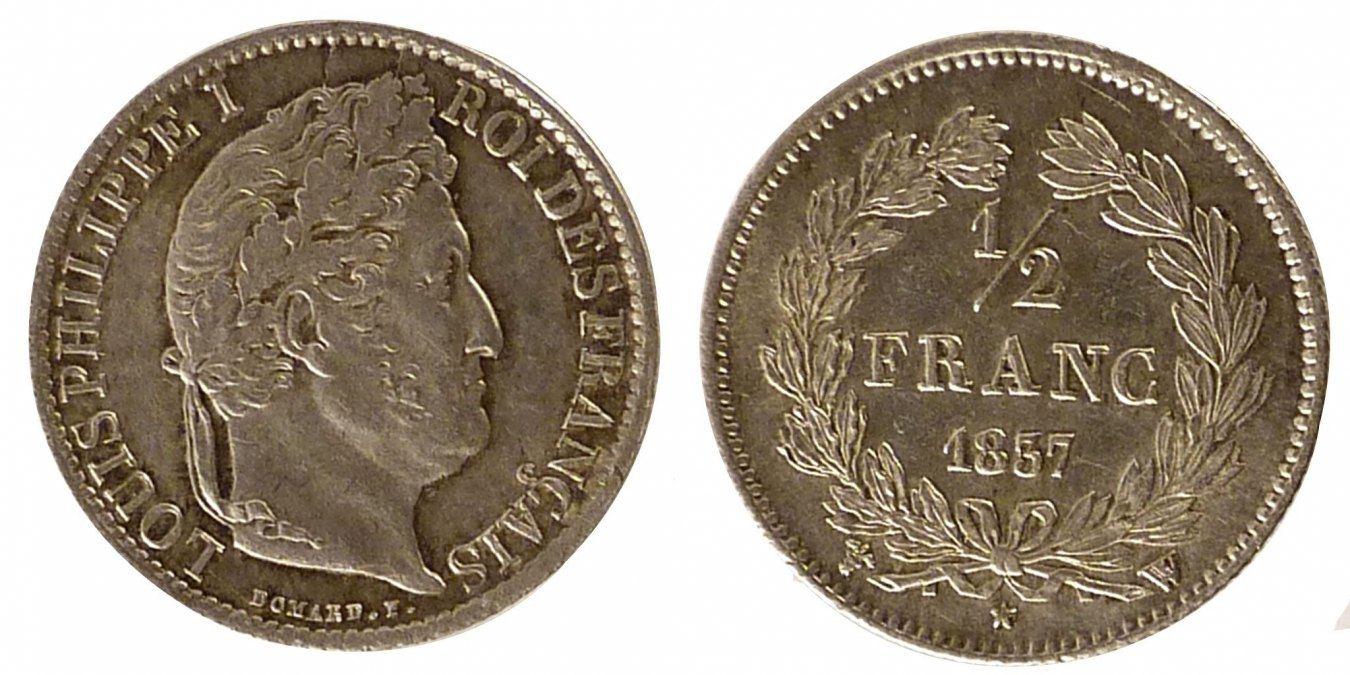 1/2 Franc 1837 W Frankreich Louis-Philippe AU(55-58)