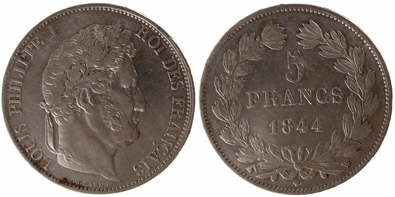 5 Francs 1844 W Frankreich Louis-Philippe AU(50-53)