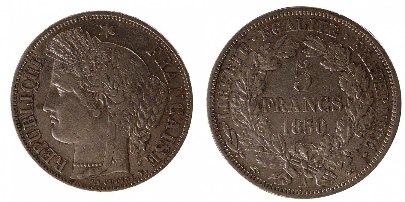 5 Francs 1850 A Frankreich Cérès AU(50-53)