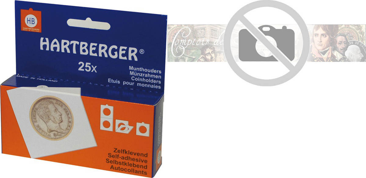 Coin Holders, self-adhesive, 35 mm, Set of 25, Safe:1657