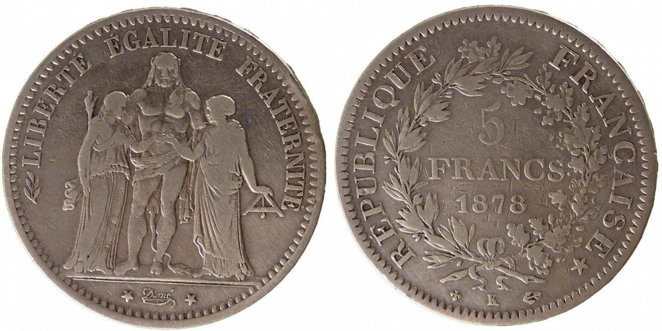 5 Francs 1878 K Frankreich Hercule VF(30-35)