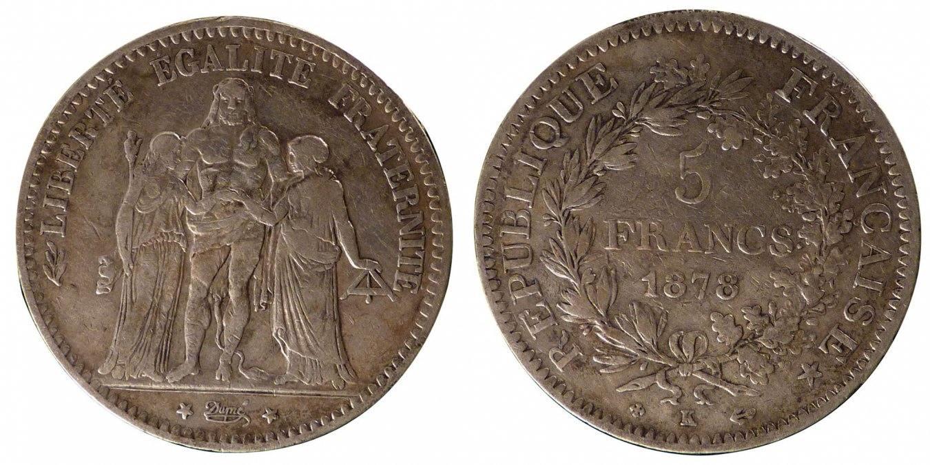 5 Francs 1878 K Frankreich Hercule EF(40-45)
