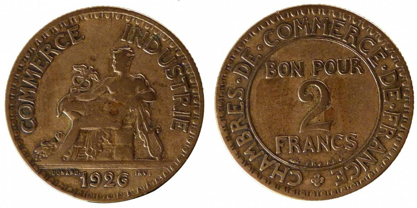 2 Francs 1926 Frankreich French Chamber of Commerce Chambre de commerce EF(40-45)