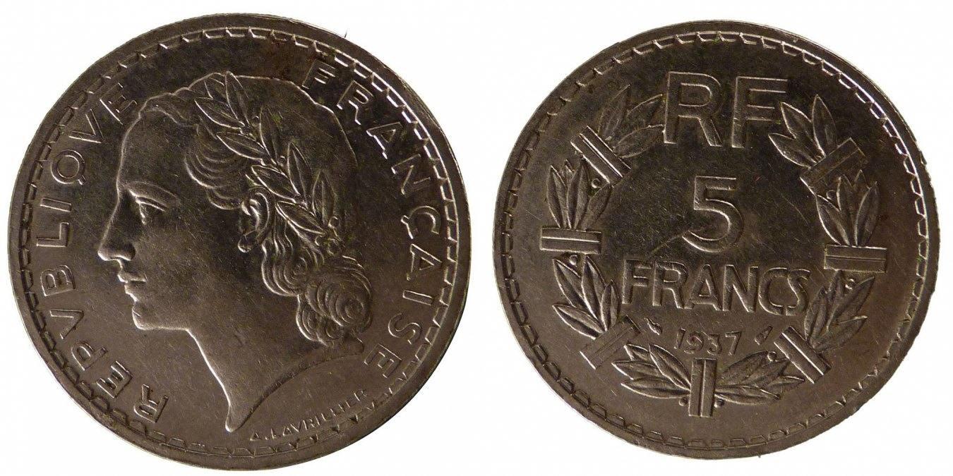 5 Francs 1937 Paris Frankreich Lavrillier VF(30-35)