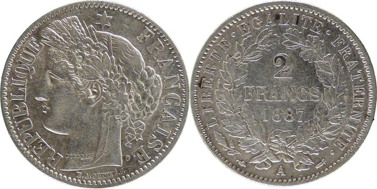 2 Francs 1887 A Frankreich Cérès AU(50-53)