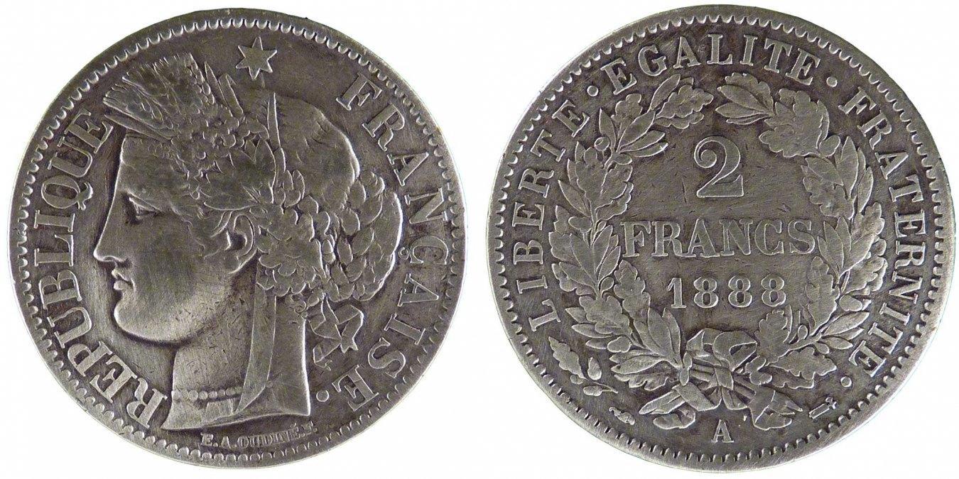 2 Francs 1888 A Frankreich Cérès EF(40-45)