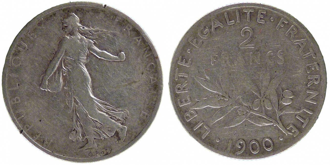 2 Francs 1900 Paris Frankreich Semeuse EF(40-45)