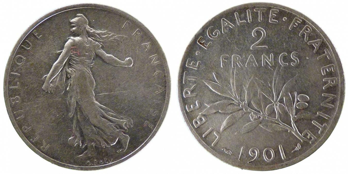 2 Francs 1901 Paris Frankreich Semeuse EF(40-45)