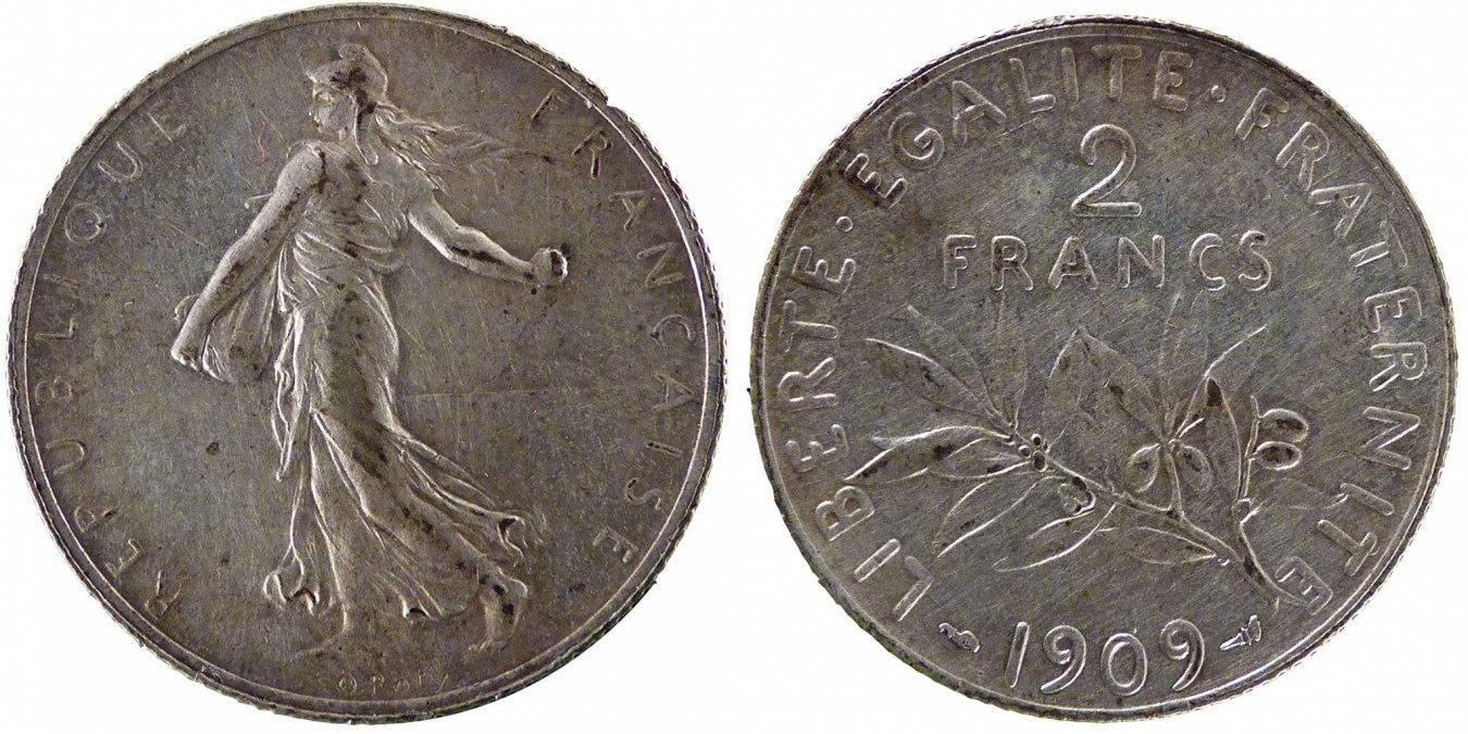 2 Francs 1909 Frankreich Semeuse AU(50-53)