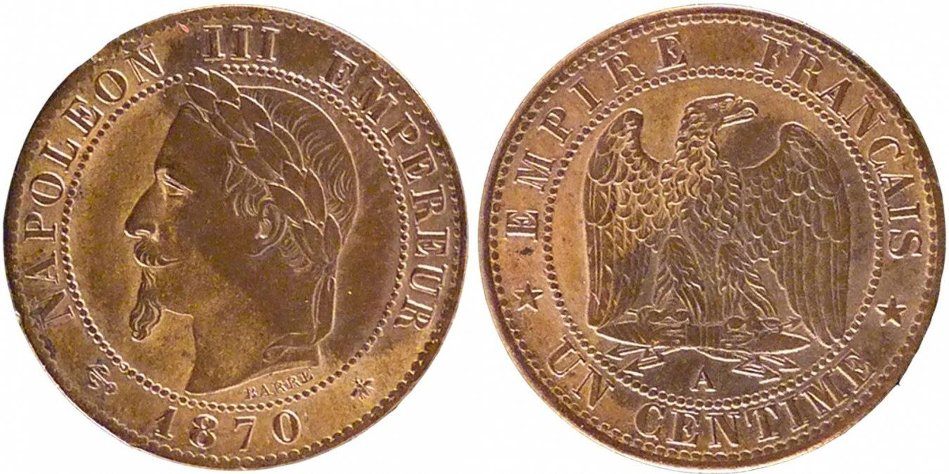 Centime 1870 A Frankreich Napoléon III Napoleon III AU(50-53)