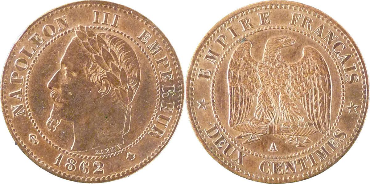 2 Centimes 1862 A Frankreich Napoléon III Napoleon III AU(50-53)