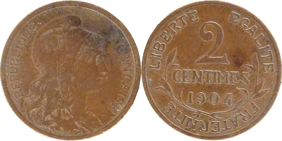 2 Centimes 1904 Paris Frankreich Dupuis AU(55-58)