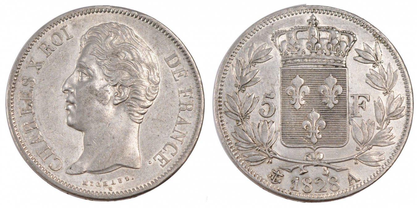 5 Francs 1828 A Frankreich Charles X AU(50-53)