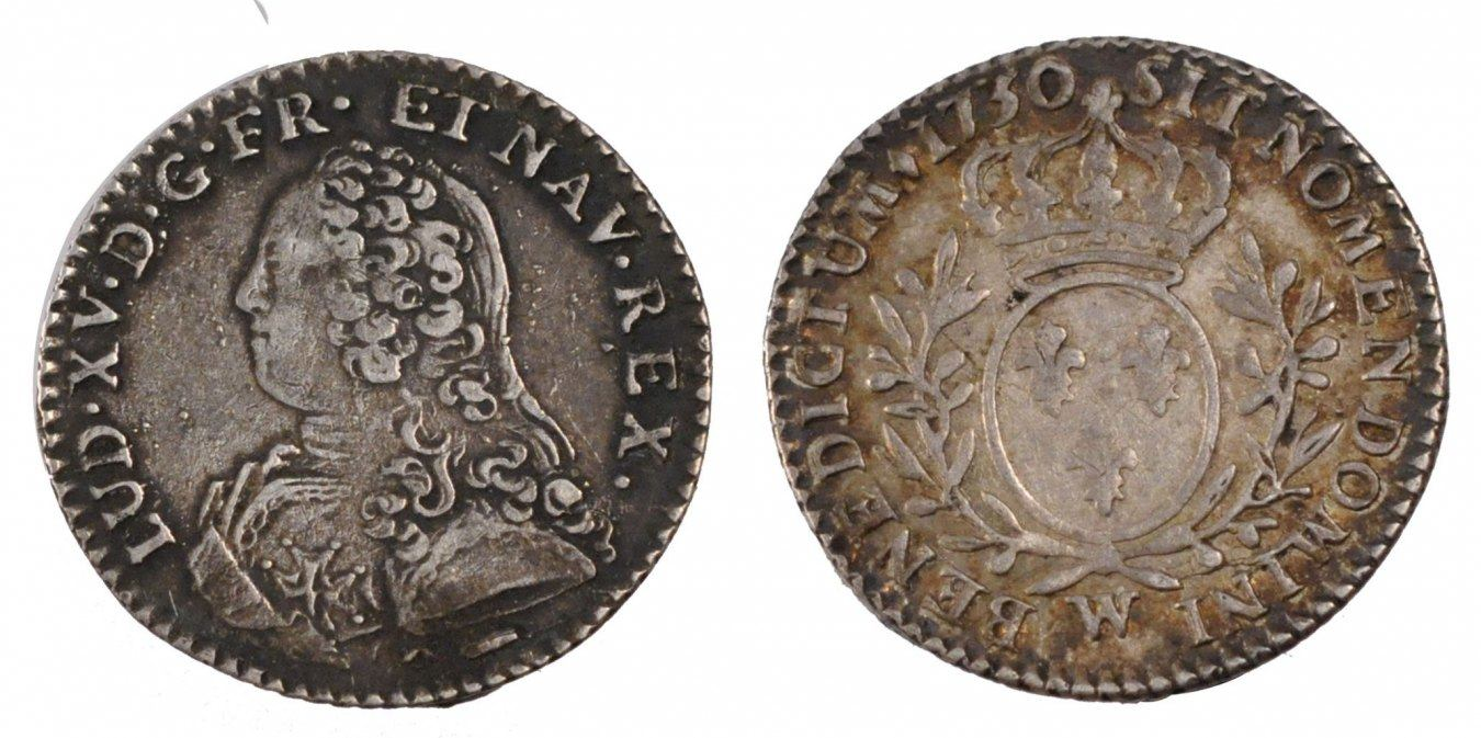 1/10 Ecu 1730 Lille Frankreich 1715-1774 Louis XV le Bien-Aimé EF(40-45)