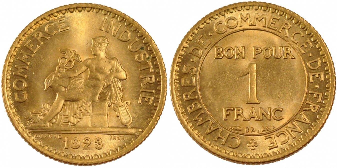 Franc 1923 Paris Frankreich Chambre de commerce MS(65-70)