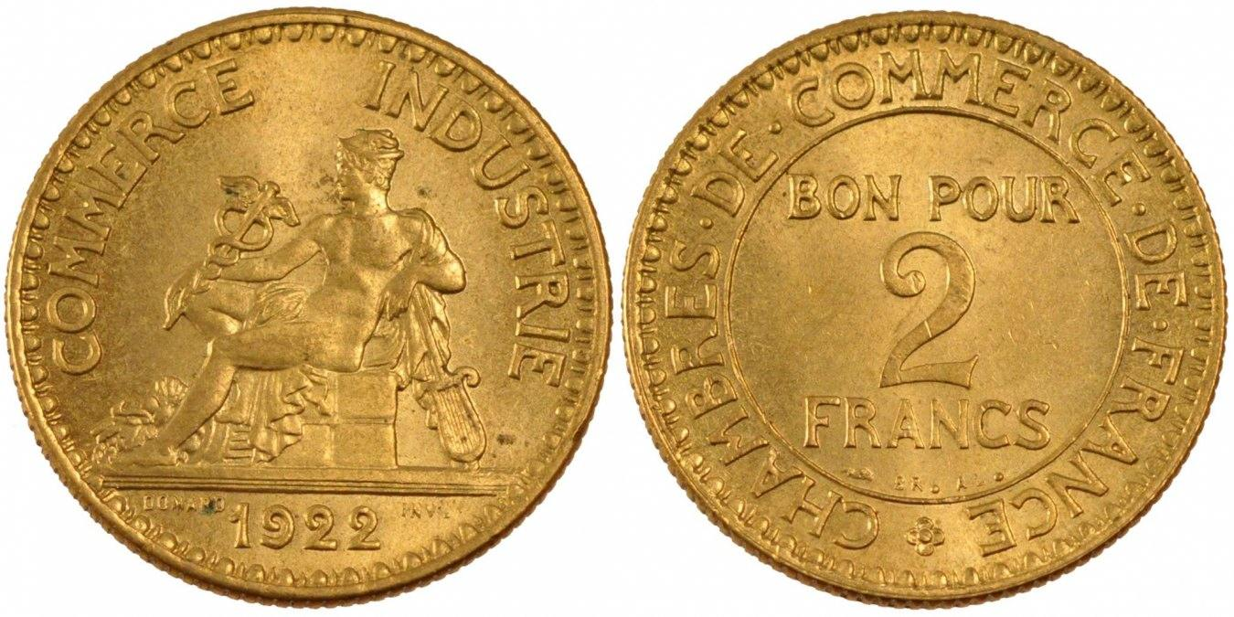 2 Francs 1922 Paris Frankreich French Chamber of Commerce Chambre de commerce MS(60-62)
