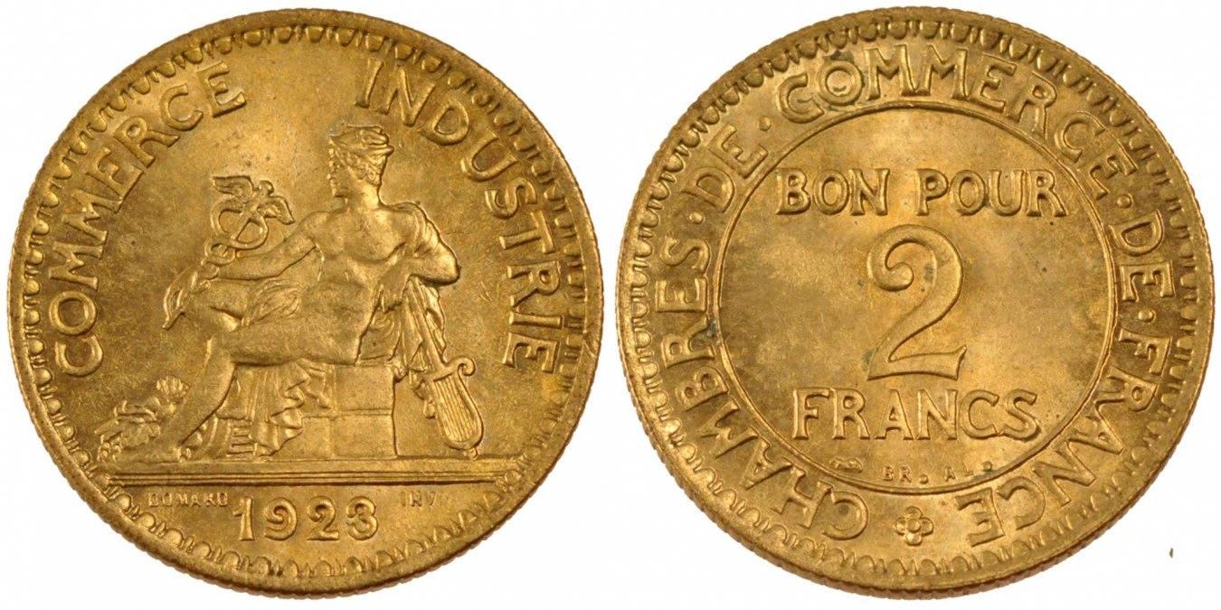2 Francs 1923 Paris Frankreich French Chamber of Commerce Chambre de commerce MS(60-62)