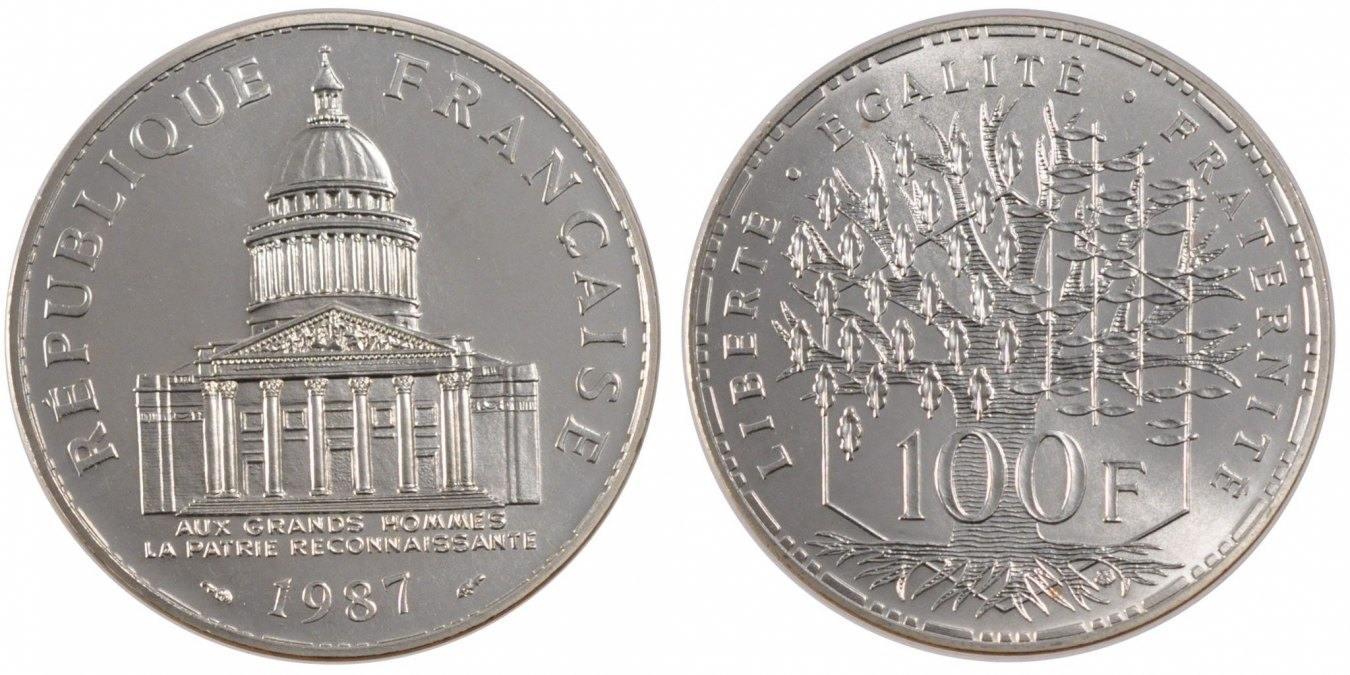100 Francs 1987 Paris Frankreich Panthéon MS(65-70)