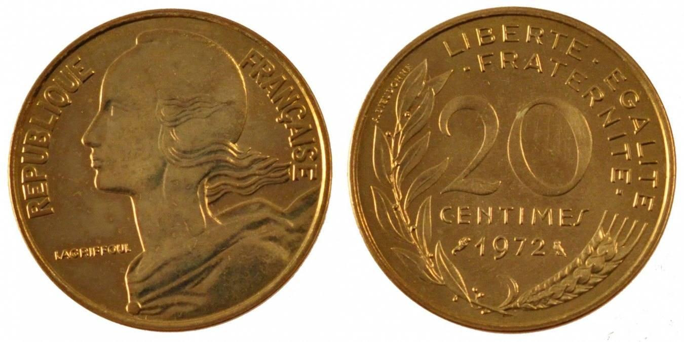 20 Centimes 1972 Paris Frankreich Marianne MS(65-70)