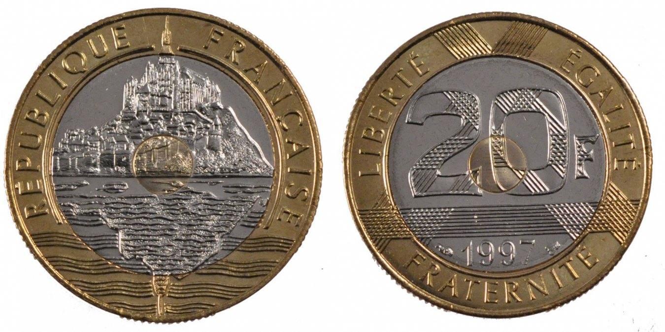 20 Francs 1997 Frankreich Mont Saint Michel MS(65-70)