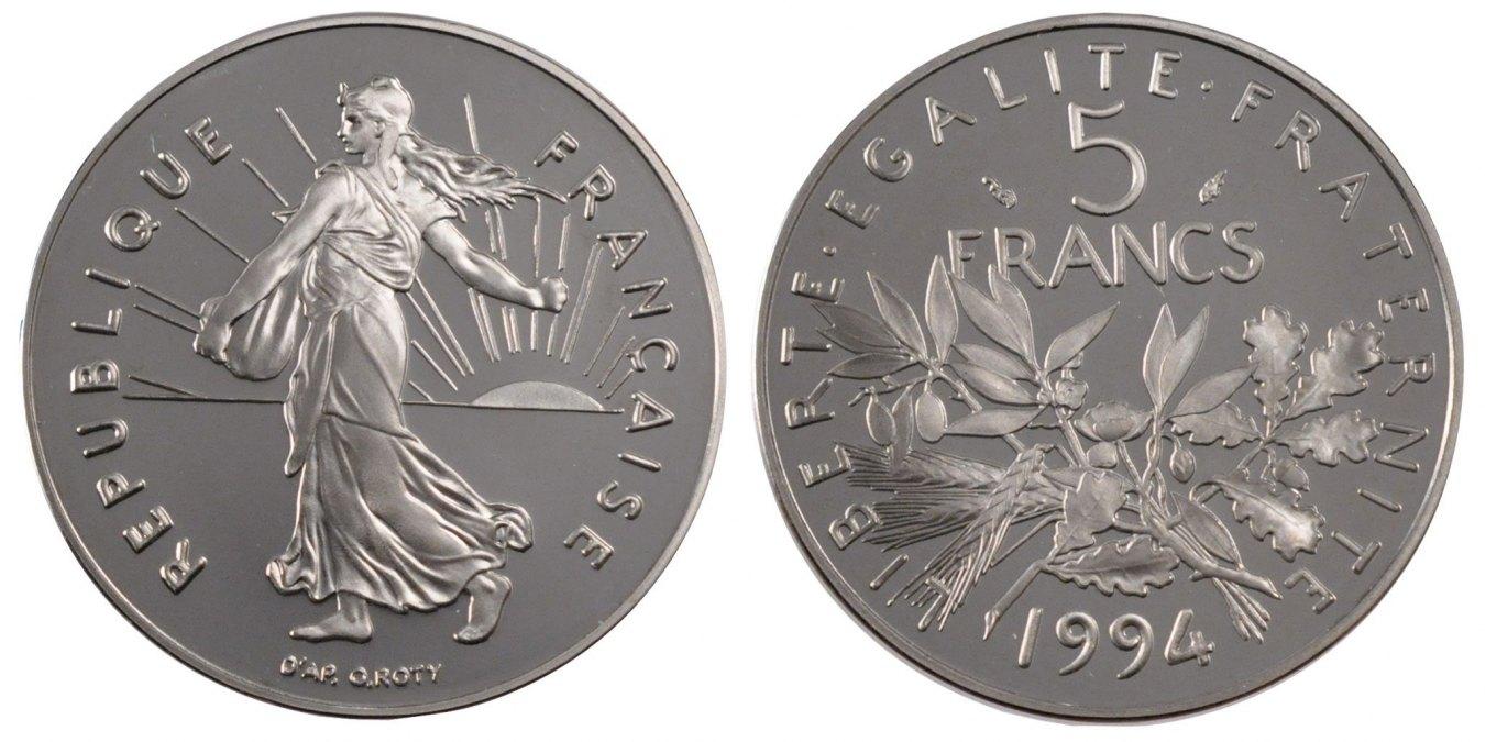 5 Francs 1994 Paris Frankreich Semeuse MS(65-70)