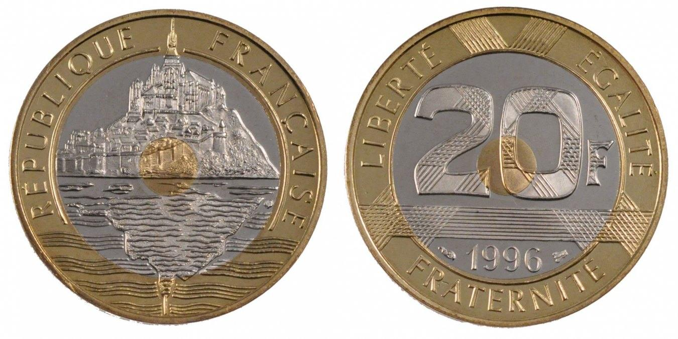 20 Francs 1996 Frankreich Mont Saint Michel MS(65-70)