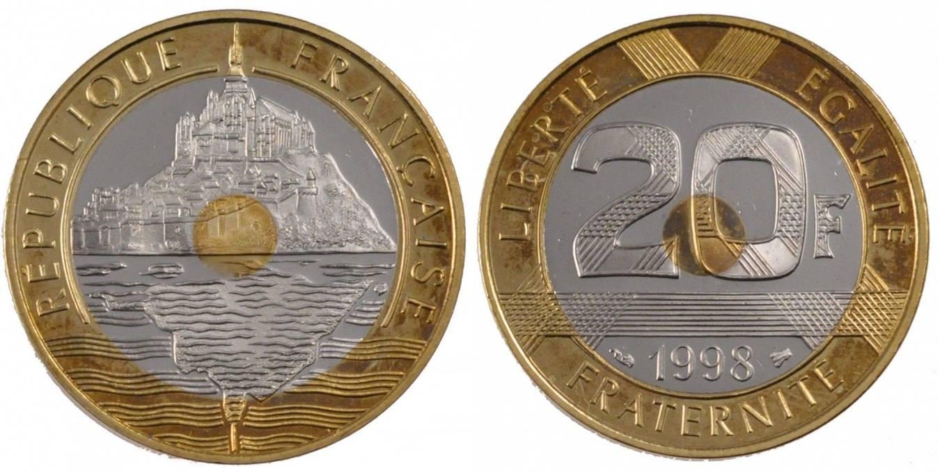 20 Francs 1998 Frankreich Mont Saint Michel MS(65-70)