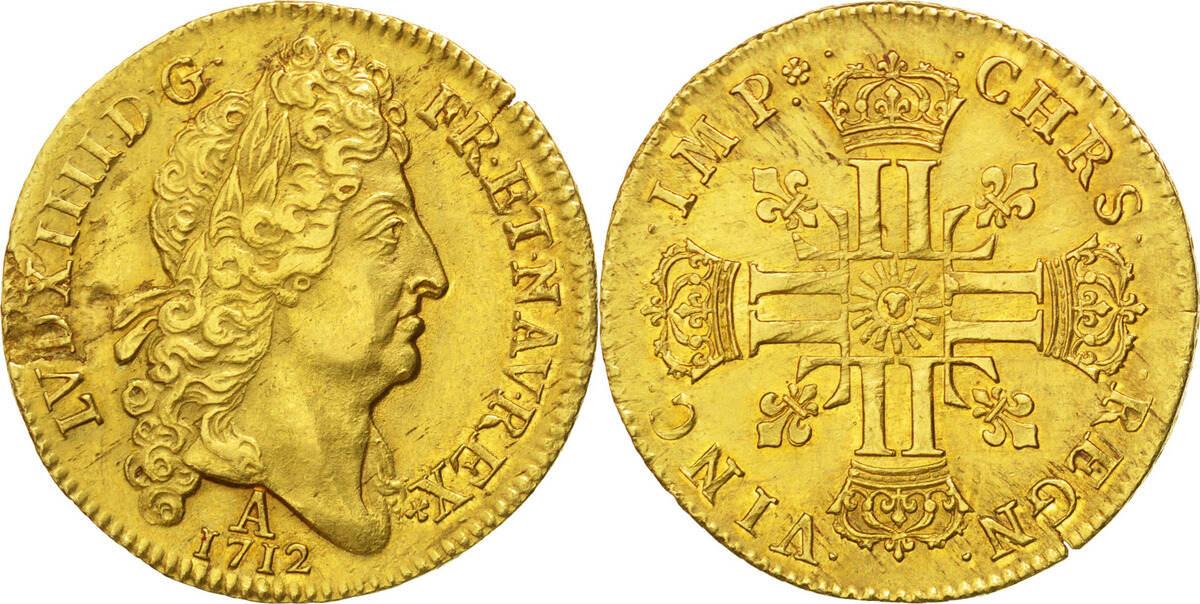 2 Louis D'or 1712 Paris Frankreich Double louis d'or au soleil Louis XIV 1643-1715 Louis XIV le Grand AU(50-53)