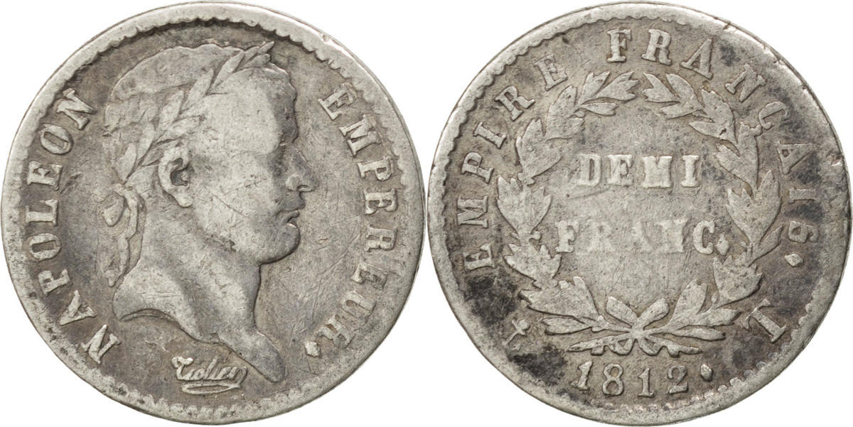 1/2 Franc 1812 T Frankreich Napoléon I VF(20-25)