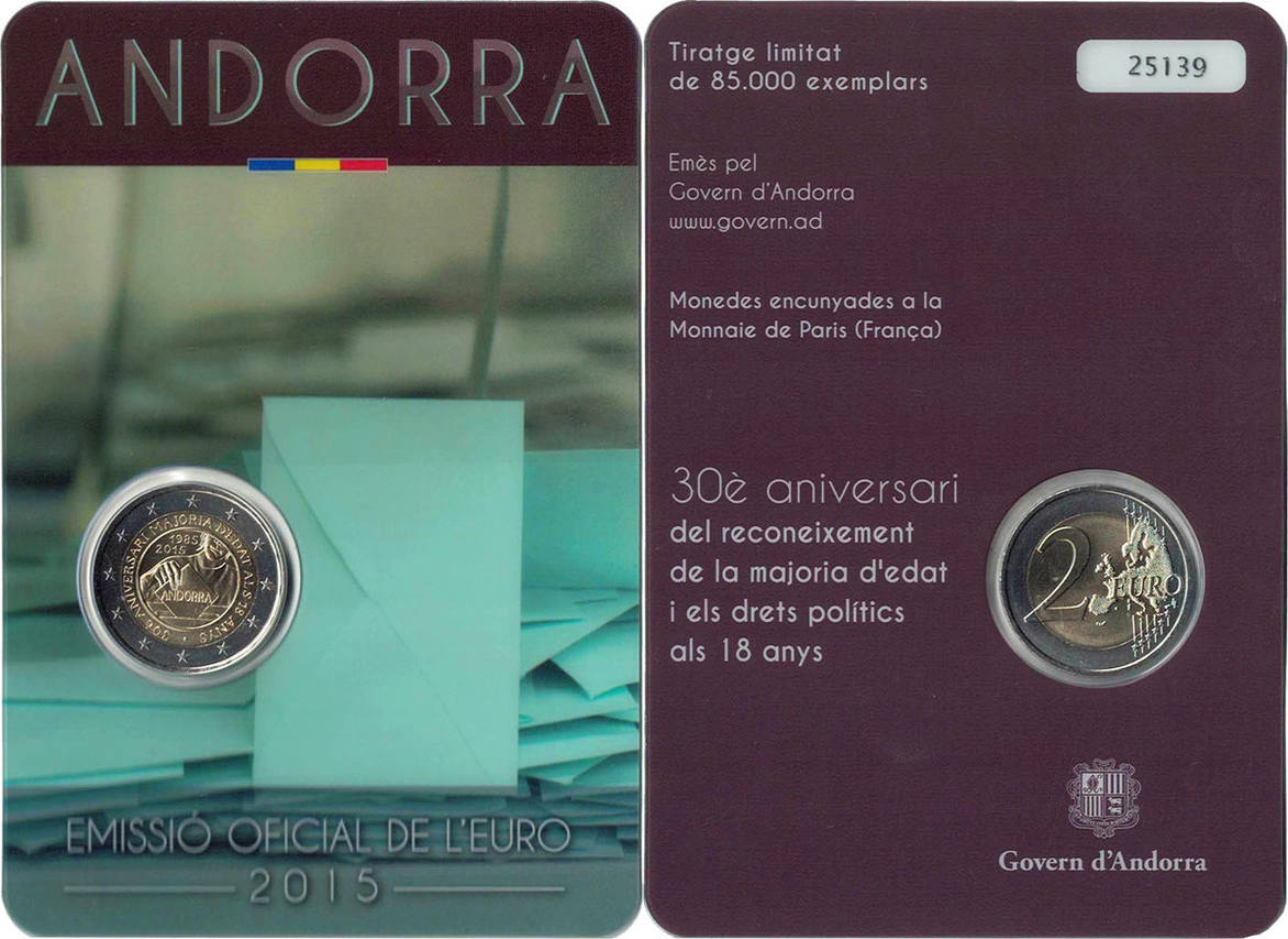 2 Euro 2015 Andorra Coincard, 2 Euro Majorité à 18 ans, Bi-Metallic STGL