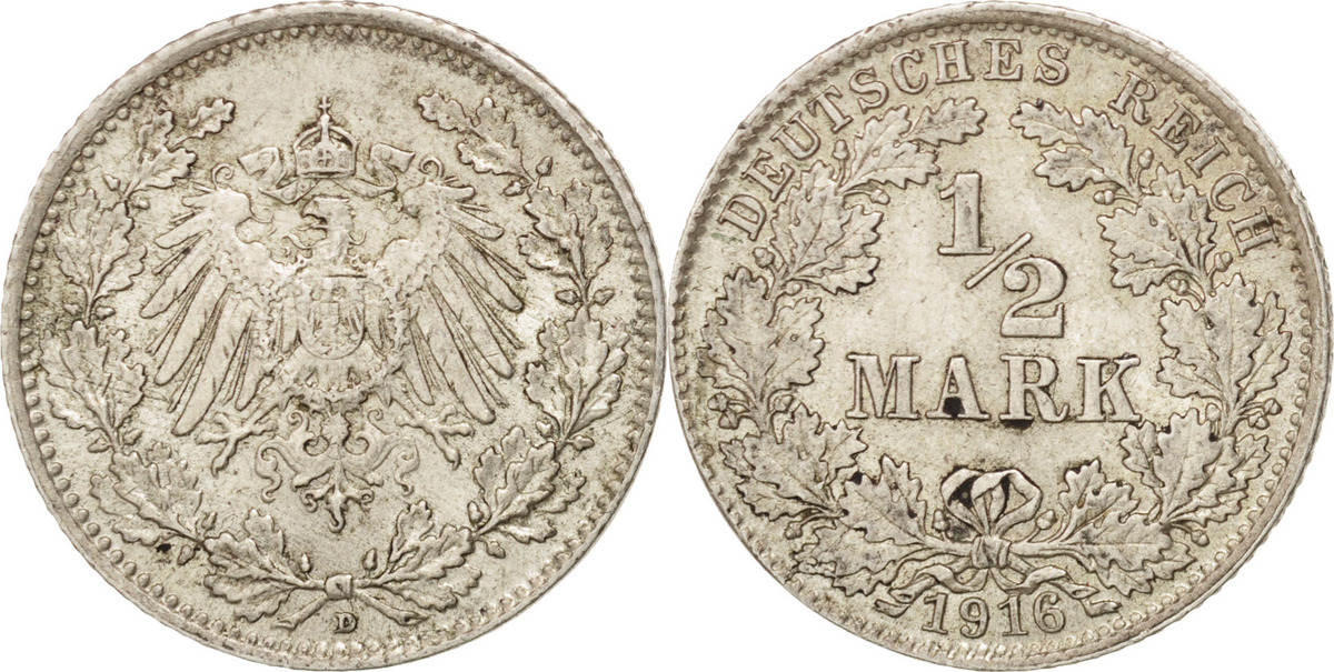1/2 Mark 1916 D GERMANY - EMPIRE AU(55-58)