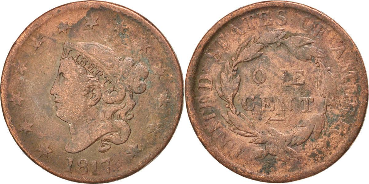 Cent 1817 U.S. Mint Vereinigte Staaten Coronet Cent VF(30-35)