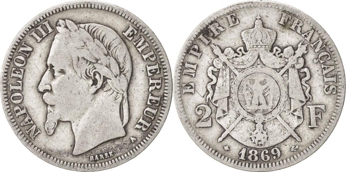 2 Francs 1869 A Frankreich Napoléon III Napoleon III VF(20-25)