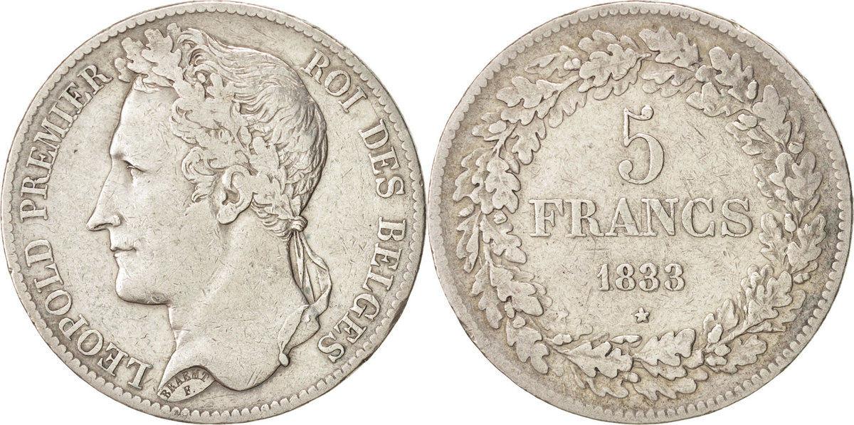 5 Francs, 5 Frank 1833 Belgien Leopold I EF(40-45)