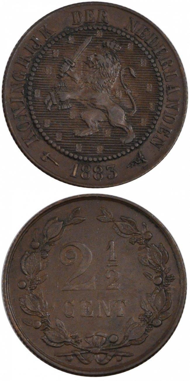 2-1/2 Cent 1883 Niederlande William III AU(55-58)