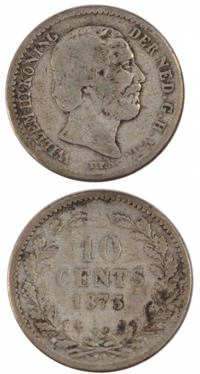 10 Cents 1873 Niederlande NETHERLANDS, KM #80, Silver, 15, 1.30 S+