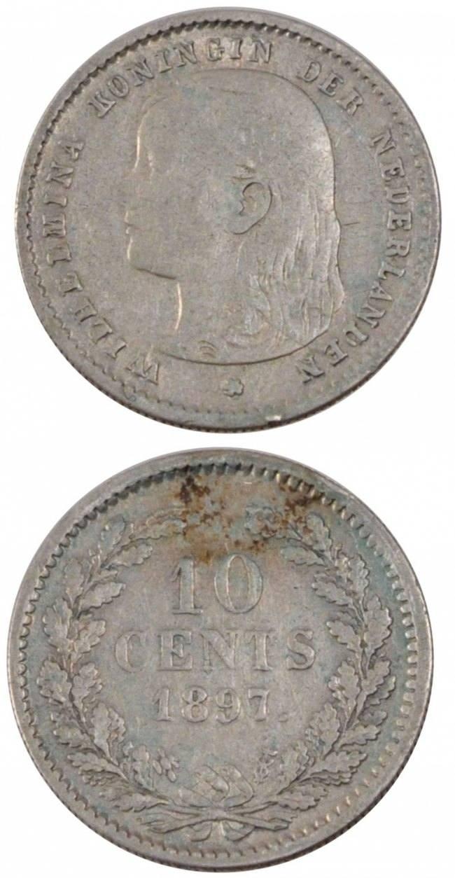 10 Cents 1897 Niederlande NETHERLANDS, KM #116, Silver, 15.2, 1.37 S+