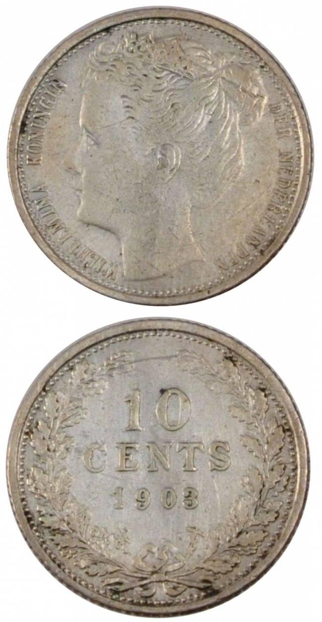 10 Cents 1903 Niederlande NETHERLANDS, KM #135, Silver, 15, 1.37 SS