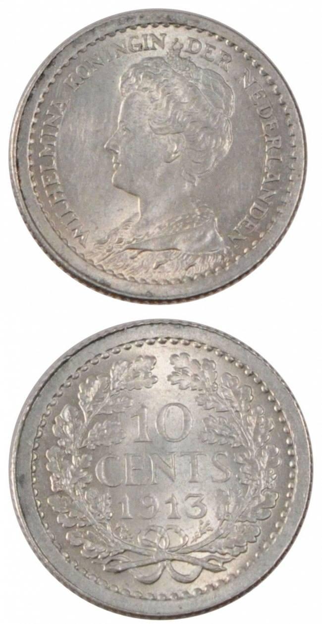 10 Cents 1913 Niederlande NETHERLANDS, KM #145, Silver, 15, 1.42 VZ+