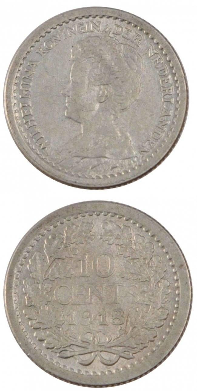 10 Cents 1918 Niederlande NETHERLANDS, KM #145, Silver, 15, 1.38 SS+