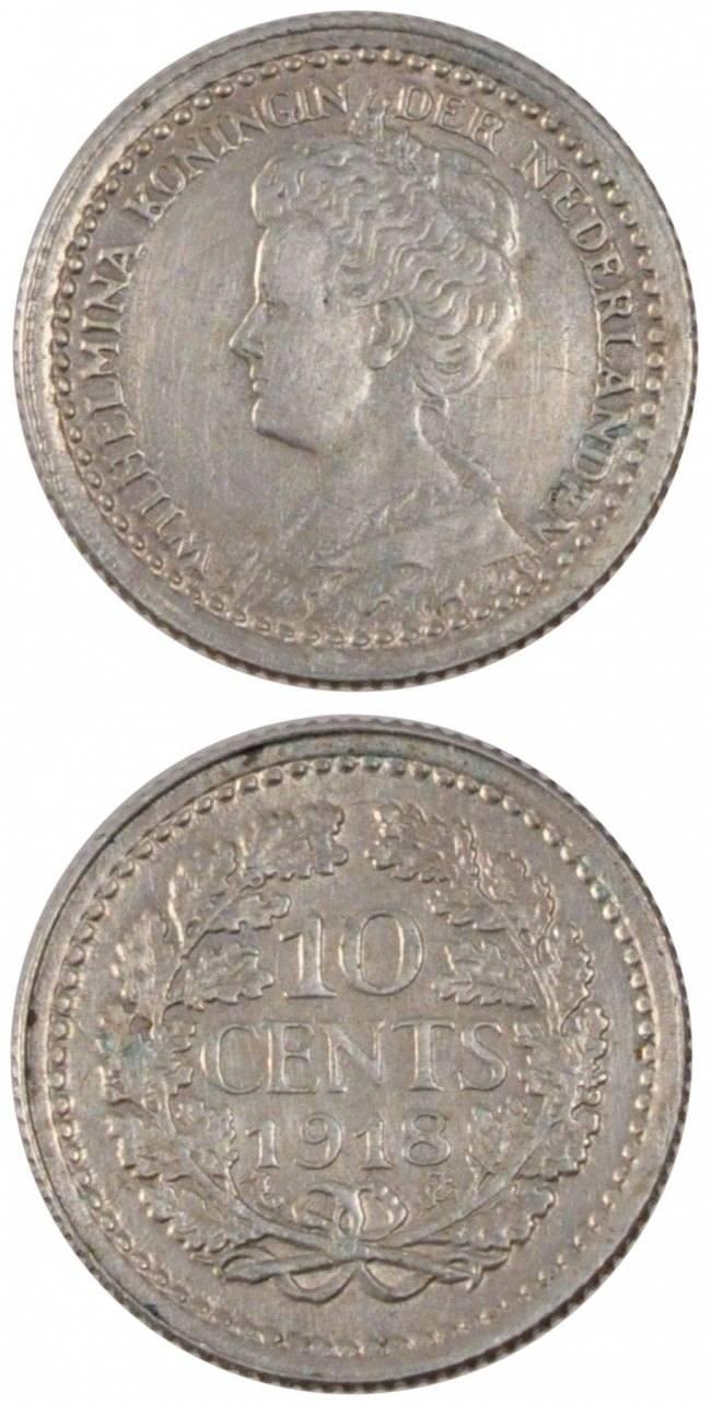 10 Cents 1918 Niederlande NETHERLANDS, KM #145, Silver, 15, 1.39 VZ