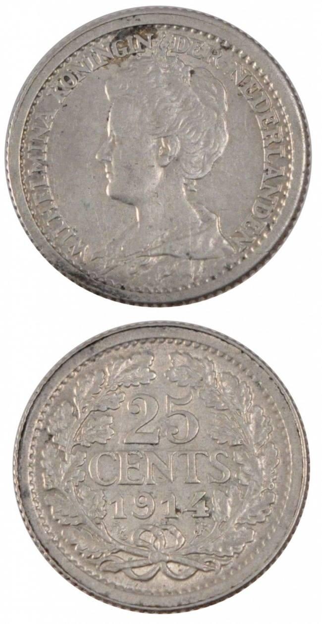 25 Cents 1914 Niederlande NETHERLANDS, KM #146, Silver, 19, 3.55 VZ