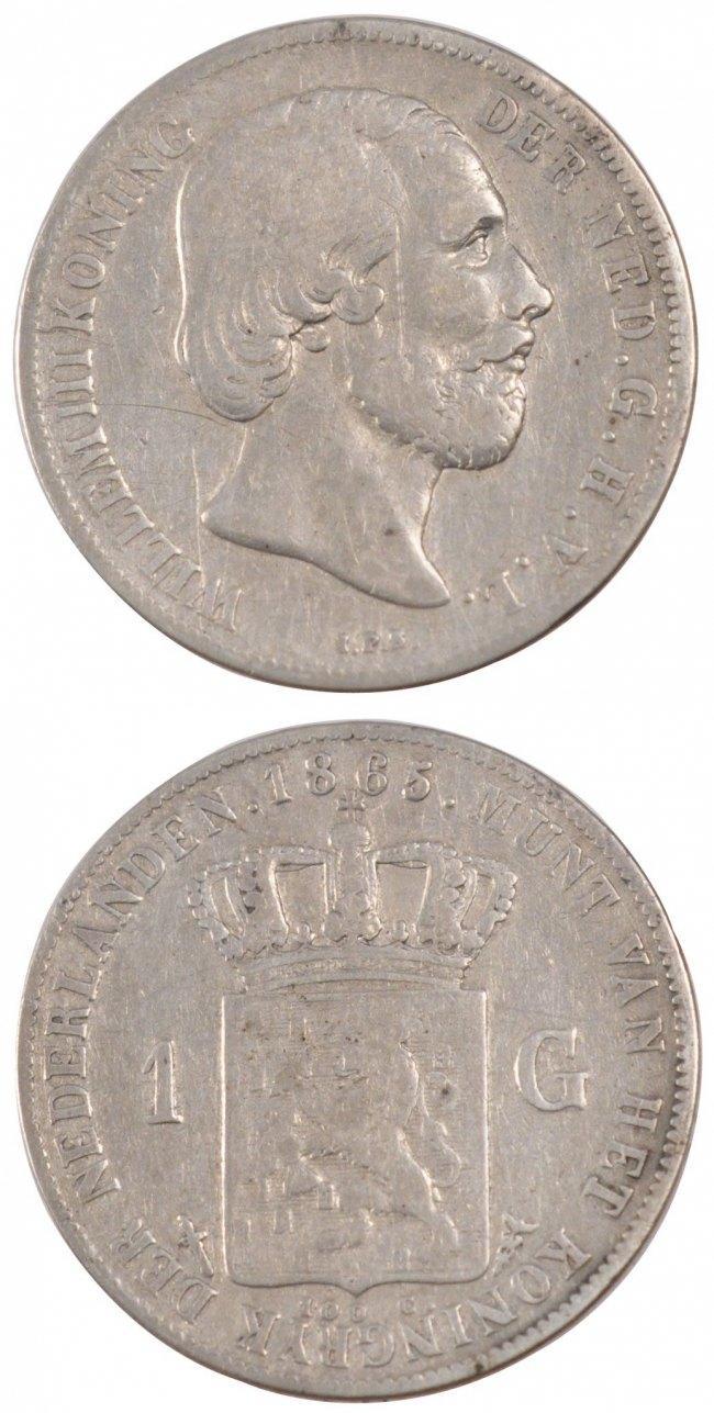 Gulden 1865 Niederlande NETHERLANDS, KM #93, Silver, 28, 9.71 SS