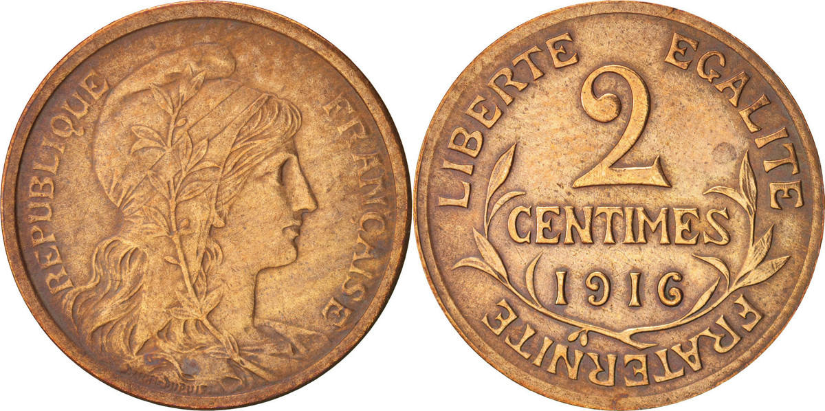 2 Centimes 1916 Paris Frankreich Dupuis EF(40-45)