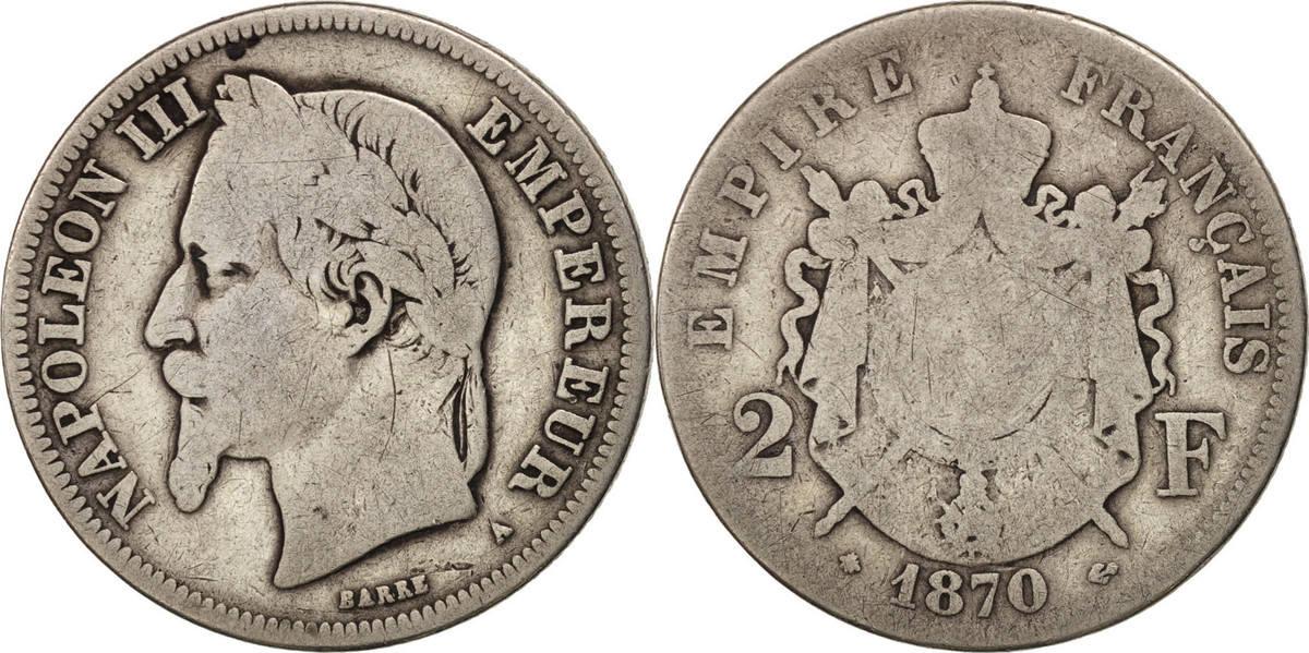 2 Francs 1870 A Frankreich Napoléon III Napoleon III VG(8-10)