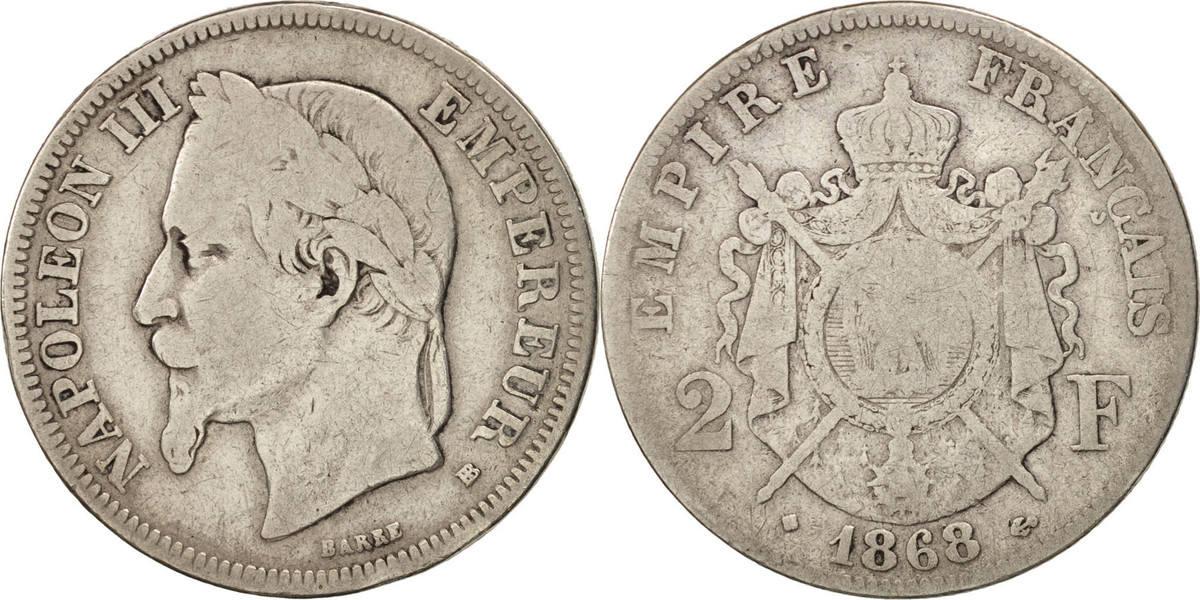 2 Francs 1868 BB Frankreich Napoléon III Napoleon III VG(8-10)