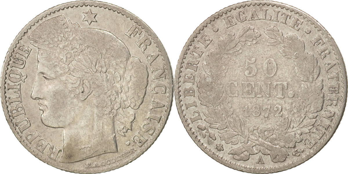 50 Centimes 1872 A Frankreich Cérès VF(20-25)
