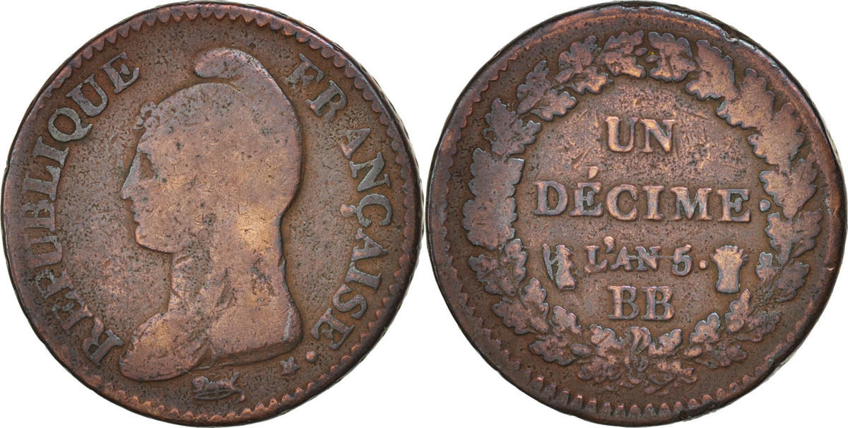 Decime 1796 BB Frankreich Dupré, Strasbourg,Bronze,KM:644.4,Gadoury187 SGE+
