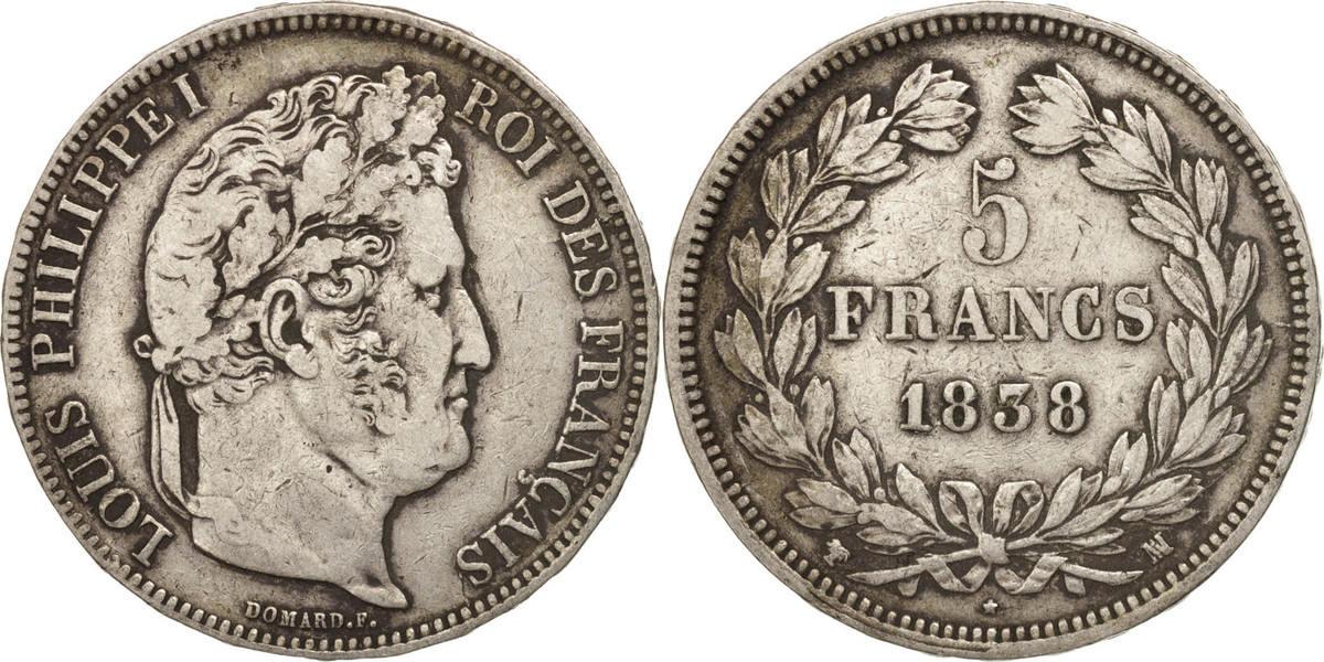 5 Francs 1838 MA Frankreich Louis-Philippe VF(30-35)