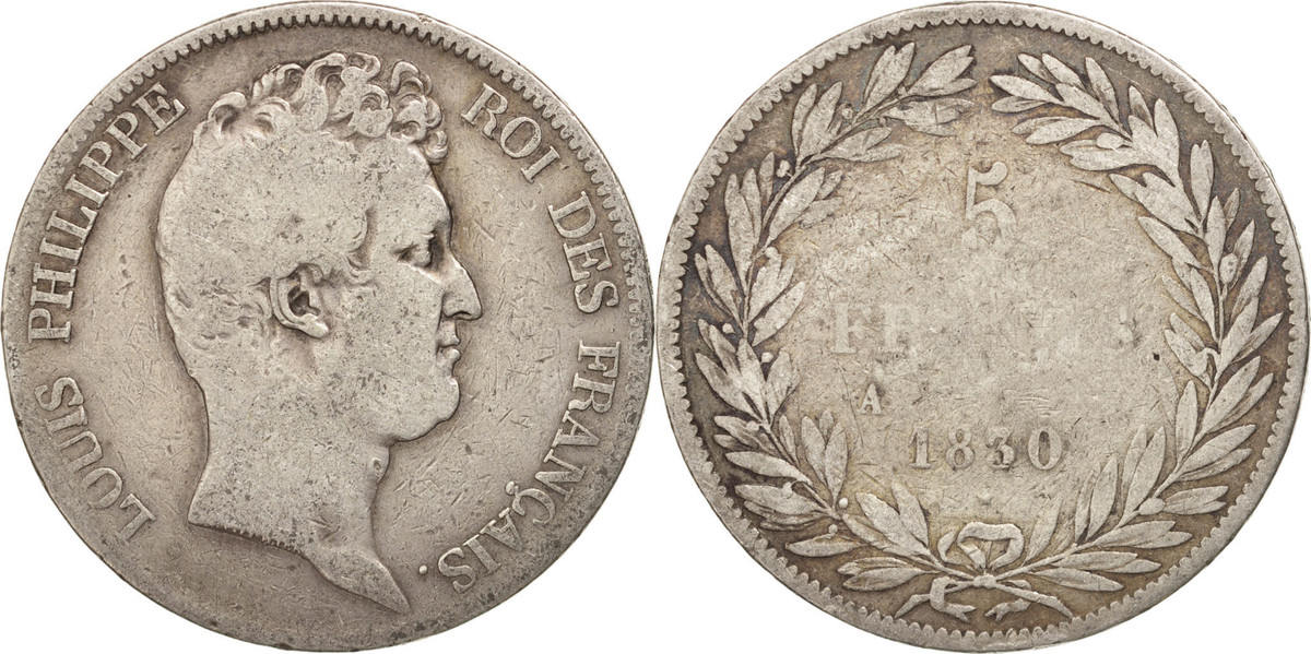 5 Francs 1830 A Frankreich Louis-Philippe VG(8-10)
